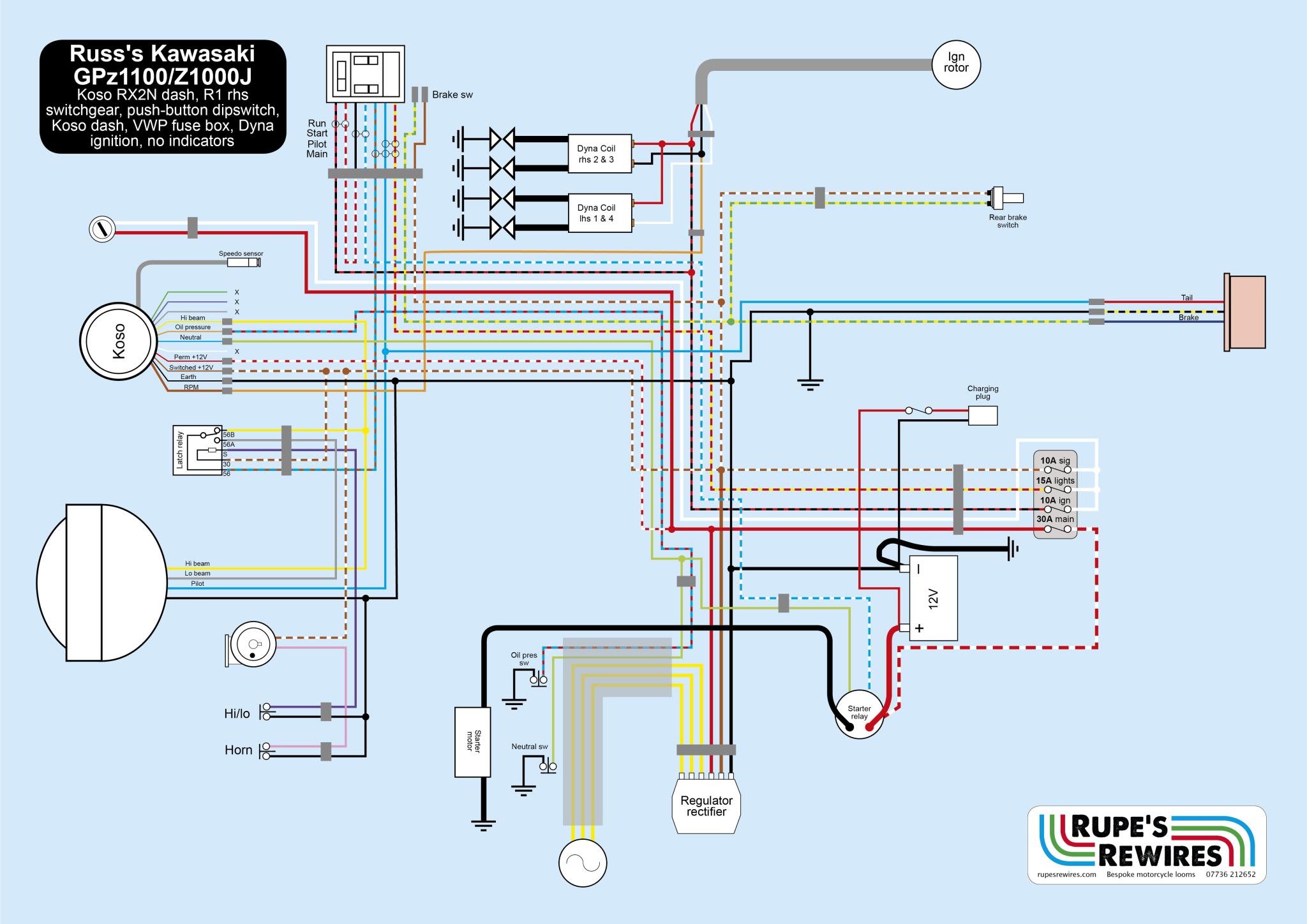 russ's z1100 lawson replica – rupe's rewires kawasaki z 1100 wiring diagram 1978 kz650 kz650 wiring diagram rupe's rewires
