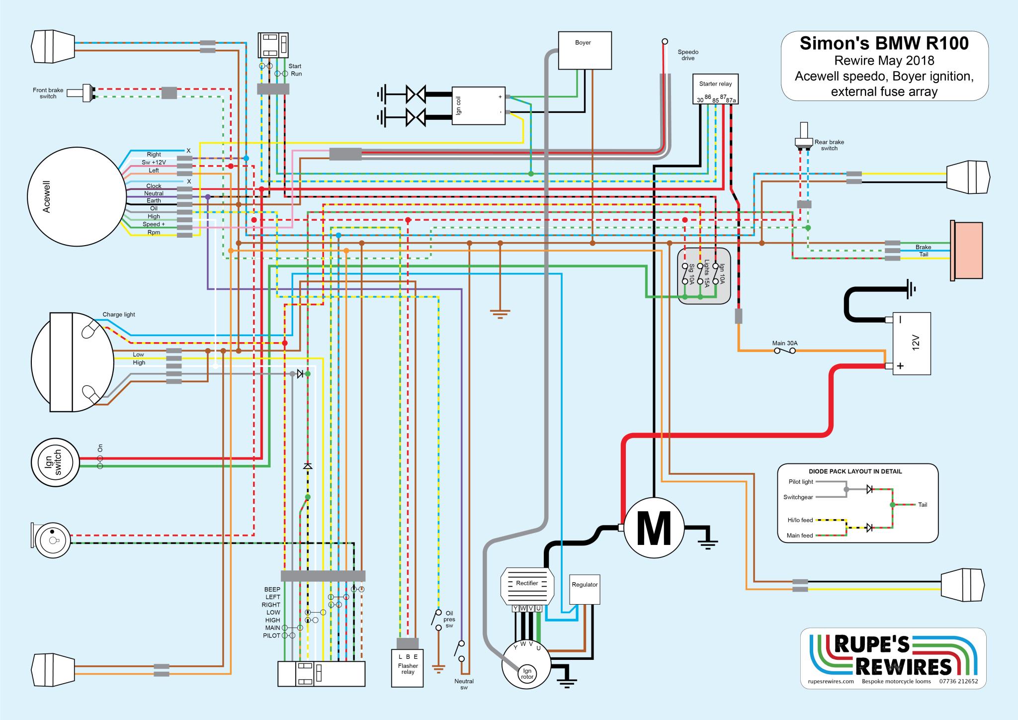 BMW R100 cafe racer custom wiring loom   Bmw R100 Wiring Diagram      Rupe's Rewires