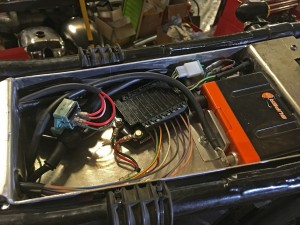 Electrics tray houses the M Unit, solenoid and lithium battery