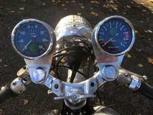 Speedo (left) is 1950s issue. Tacho is brand new and electronic