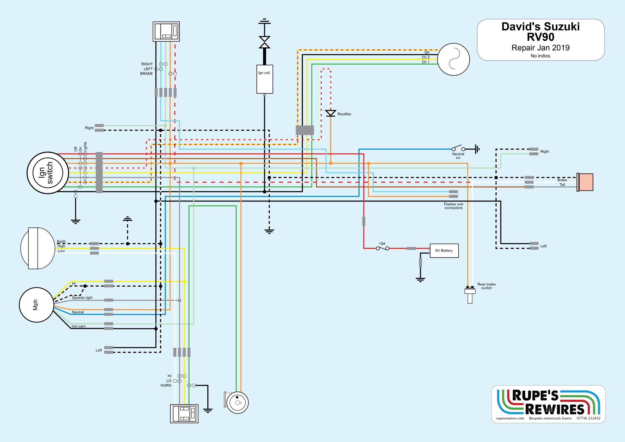 suzuki rv90  rupe's rewires
