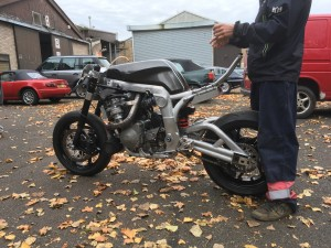 The frame is a work of genius, adapted from the standard Suzuki GSX-R750