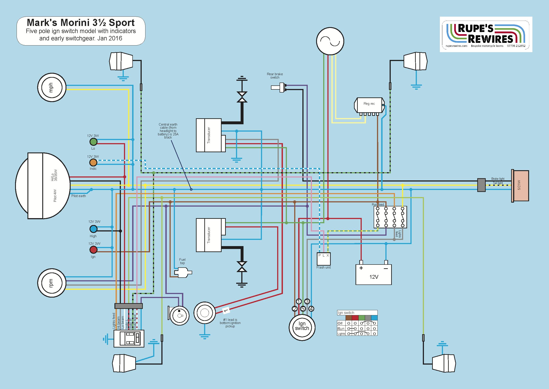1978 Morini 350 Strada Rupes Rewires Five Pole Switch Wiring Diagram Sport 5 Ign